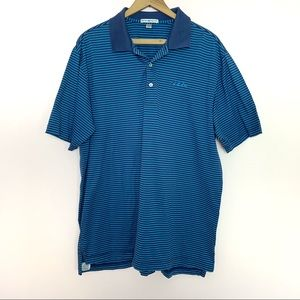 Peter Millar Navy Blue Striped Logo Polo Shirt